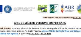 Asociatia Grupul de Actiune Locala Meleagurile Cricovului – APEL DE SELECTIE VERSIUNE SIMPLIFICATA
