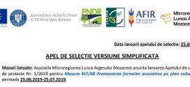 Asociatia Microregiunea Lunca Argesului Mozaceni anunta lansarea Apel de selectie versiune simplificata