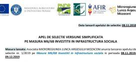 GAL MLAM: ANUNTUL PRIVIND LANSAREA Apelului de selectie nr. 1/2019 pe Masura M6/6B Investitii in infrastructura sociala