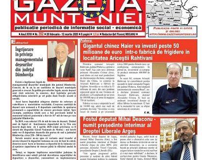 COMUNICAT DE PRESĂ – ZIARUL REGIONAL GAZETA MUNTENIEI.  JURNAL, EXTREMĂ, URGENTĂ!