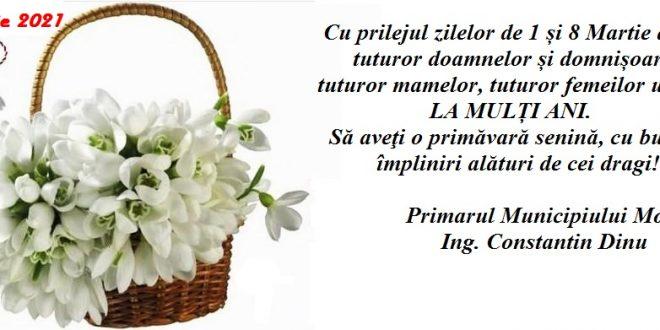 Dambovita: Mesajul primarului municipiului Moreni, Constantin Dinu, cu ocazia zilelor de 1 si 8 martie